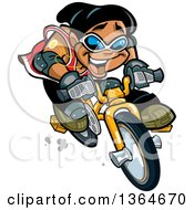 Clipart Of A Cartoon Excited Black Boy Speeding On A Bicycle Royalty Free Vector Illustration
