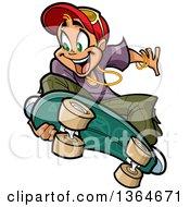 Cartoon Blond White Boy Jumping And Grabbing His Skateboard