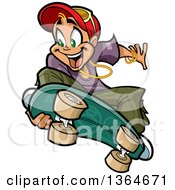 Clipart Of A Cartoon Blond White Boy Jumping And Grabbing His Skateboard Royalty Free Vector Illustration