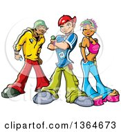 Clipart Of A Cartoon Group Of Funky Urban Teenagers Posing With Mp3 Players Royalty Free Vector Illustration by Clip Art Mascots