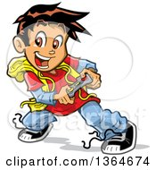 Clipart Of A Cartoon Excited Boy Playing Video Games Royalty Free Vector Illustration by Clip Art Mascots