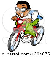 Clipart Of A Cartoon Excited Casual Black Boy Riding A Bicycle Royalty Free Vector Illustration
