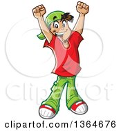 Clipart Of A Cartoon Happy Casual Teenage Boy Cheering Royalty Free Vector Illustration