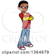Clipart Of A Cartoon Casual Black Teen Boy Standing With Folded Arms Royalty Free Vector Illustration