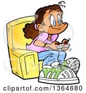 Cartoon Happy Girl Sitting In A Chair And Playing Video Games