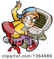 Clipart Of A Cartoon Geeky Computer Nerd Boy Looking Back From His Desk Royalty Free Vector Illustration