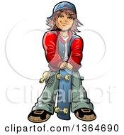 Cartoon Brunette Teenage White Boy Stnading With A Skateboard