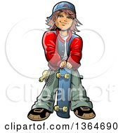 Clipart Of A Cartoon Brunette Teenage White Boy Stnading With A Skateboard Royalty Free Vector Illustration