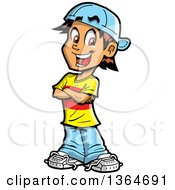 Clipart Of A Cartoon Happy Casual Brunette White Teenage Guy Standing With Folded Arms Royalty Free Vector Illustration