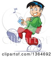 Cartoon Teenage School Guy Walking And Listenting To Music On An Mp3 Player