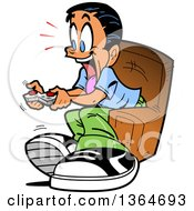Clipart Of A Cartoon Excited Boy Sitting In A Chair And Playing Video Games Royalty Free Vector Illustration