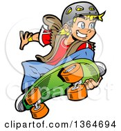 Clipart Of A Cartoon Blond White Skater Boy Grabbing His Board And Jumping Royalty Free Vector Illustration by Clip Art Mascots