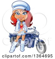 Clipart Of A Cartoon Red Haired White Woman In White Leather Posing By A Motorcycle Royalty Free Vector Illustration by Clip Art Mascots