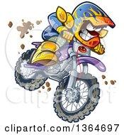 Cartoon Aggressive Man Jumping And Riding A Dirt Bike With Mud Splashing Everywhere