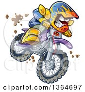 Clipart Of A Cartoon Aggressive Man Jumping And Riding A Dirt Bike With Mud Splashing Everywhere Royalty Free Vector Illustration