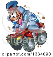 Clipart Of A Cartoon Crazy Brunette White Man Jumping An ATV Quad Through The Mud Royalty Free Vector Illustration