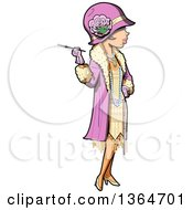 Clipart Of A Cartoon Roaring 20s Socialite Woman Holding A Cigarette Royalty Free Vector Illustration by Clip Art Mascots #COLLC1364701-0189