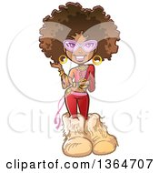 Clipart Of A Cartoon Funky Pretty 70s Black Woman With An Afro Glasses And Big Furry Boots Royalty Free Vector Illustration