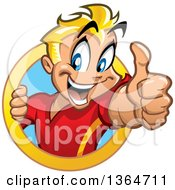 Clipart Of A Cartoon Happy Blond White Boy Holding Up A Thumb And Emerging From A Circle Royalty Free Vector Illustration