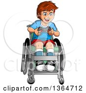 Cartoon Happy Brunette White Boy In A Wheelchair Playing A Video Game