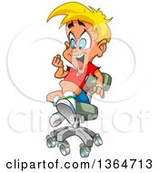 Clipart Of A Cartoon Excited Blond White Boy Playing In An Office Chair Royalty Free Vector Illustration