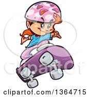 Cartoon Red Haired Caucasian Girl Skateboarding