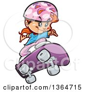 Clipart Of A Cartoon Red Haired Caucasian Girl Skateboarding Royalty Free Vector Illustration