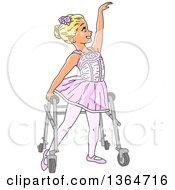 Cartoon Blond White Special Needs Girl Dancing Ballet In Her Walker