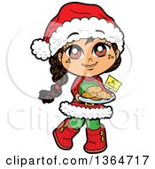 Clipart Of A Cartoon Happy Christmas Girl Holding A Tray Of Cookies For Santa Royalty Free Vector Illustration