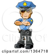Cartoon Handsome Muscular White Male Police Officer Wearing Sunglasses And Standing With Folded Arms