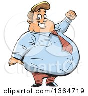 Clipart Of A Cartoon Happy Fat White Businessman Cheering And Smiling Royalty Free Vector Illustration by Clip Art Mascots