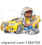 Cartoon Black Hip Hop Guy Leaning Against His Car And Decked Out In Bling