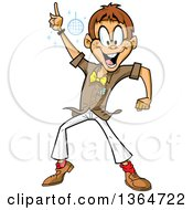 Clipart Of A Cartoon Happy White Man Disco Dancing At A Night Club Royalty Free Vector Illustration
