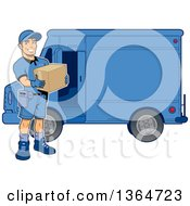 Cartoon Handsome Muscular Delivery Man Holding A Box By A Van
