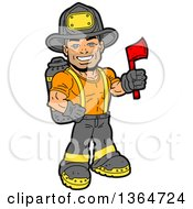 Cartoon Handsome Muscular Fireman Holding An Axe And Smiling