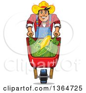 Cartoon Happy White Male Corn Farmer Pushing A Wheelbarrow