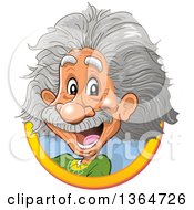 Clipart Of A Cartoon Happy Albert Einstein Vignette Royalty Free Vector Illustration