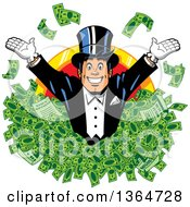 Cartoon Wealthy White Man Wearing A Tux And Top Hat Popping Out Of Cash Money Over A Coin