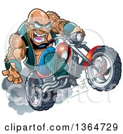 Cartoon Crazy Bald Black Biker Dude Wearing Sunglasses And Popping A Wheelie On His Motorcycle