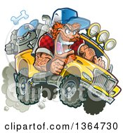 Clipart Of A Cartoon Crazy Red Haired White Redneck Man Driving A Bulldog In A Pickup Truck Royalty Free Vector Illustration