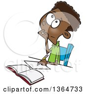 Cartoon Clipart Of A Black School Boy Writing And Thinking While Figuring Out A Math Problem Royalty Free Vector Illustration