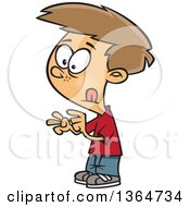 Cartoon Clipart Of A Dirty Blond White School Boy Counting With His Fingers Royalty Free Vector Illustration by Ron Leishman