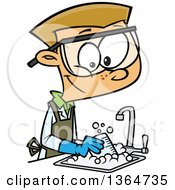 Cartoon Clipart Of A Happy Blond White School Boy Cleaning Up In A Science Lab Royalty Free Vector Illustration