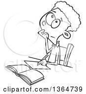 Cartoon Clipart Of A Black And White School Boy Writing And Thinking While Figuring Out A Math Problem Royalty Free Vector Illustration by toonaday