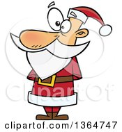 Cartoon Clipart Of A Christmas Santa Claus Standing In A Red Suit Royalty Free Vector Illustration by toonaday