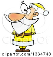 Cartoon Clipart Of A Christmas Santa Claus Standing In A Yellow Suit Royalty Free Vector Illustration by toonaday