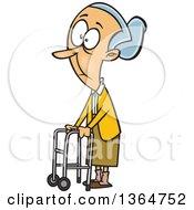 Caucasian Senior Woman Using A Walker To Get Around