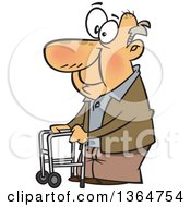 Cartoon Clipart Of A Happy Old Caucasian Man Using A Walker To Get Around Royalty Free Vector Illustration by toonaday