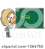 Cartoon Clipart Of A Dirty Blond White School Girl Pondering Over An Equation On A Chalk Board Royalty Free Vector Illustration by toonaday