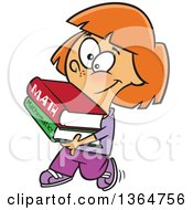 Happy Red Haired White School Girl Walking And Carrying Math Books